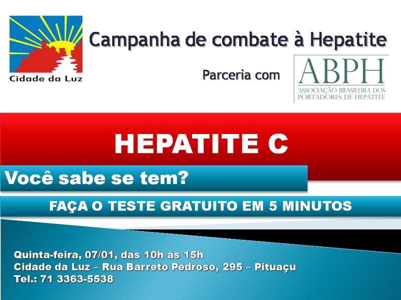 Cidade da Luz e ABPH realizam teste gratuito de Hepatite C