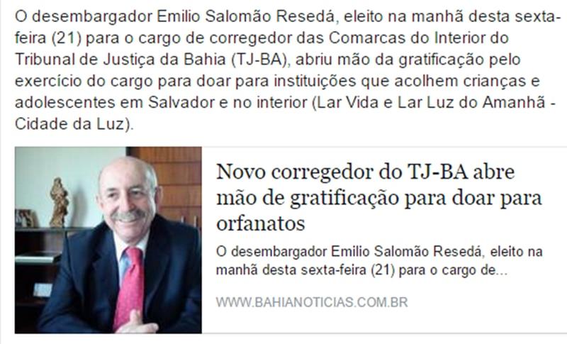 O desembargador Emílio Salomão Resedá faz doação para o Lar Luz do Amanhã