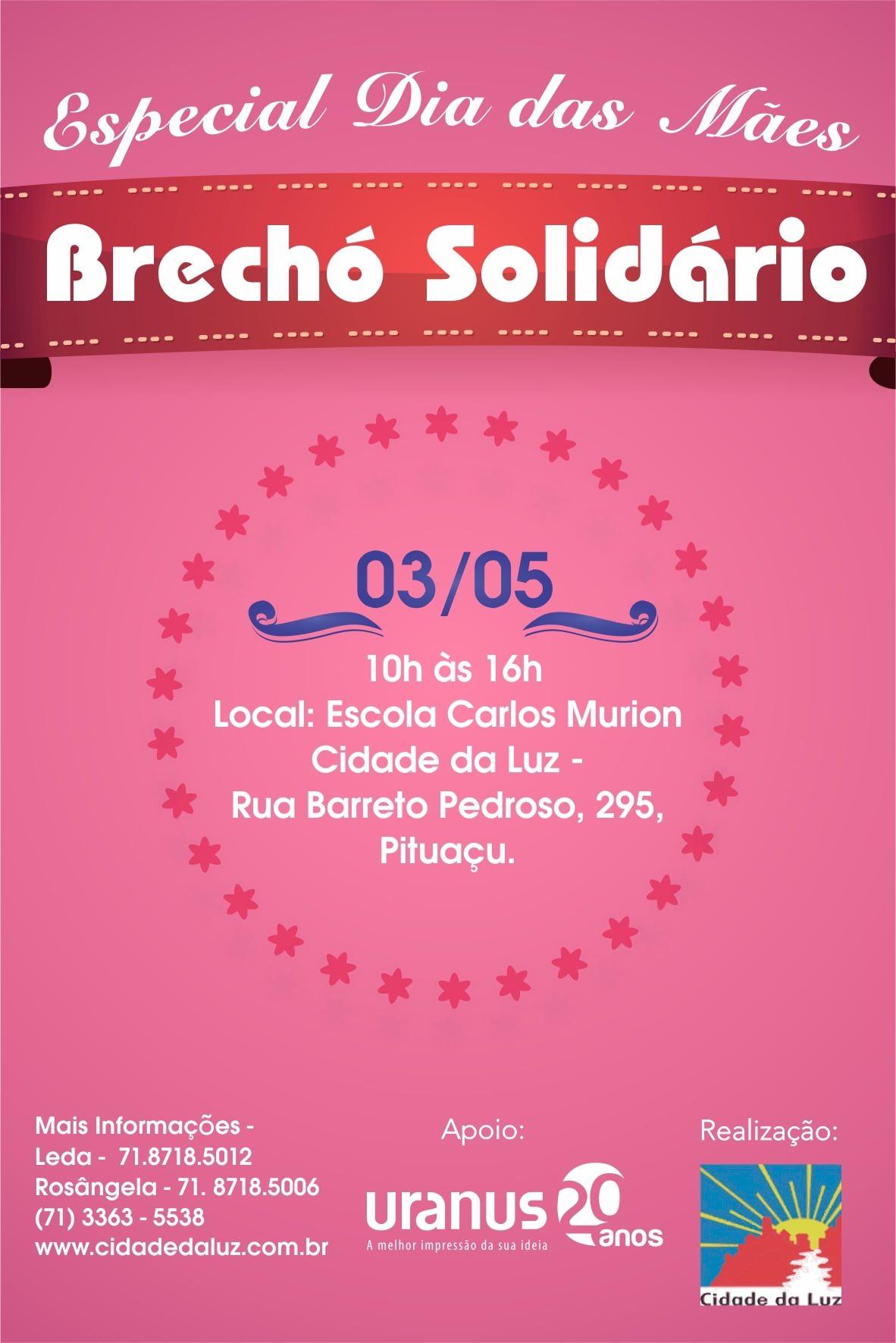 Brechó Solidário Dia das Mães