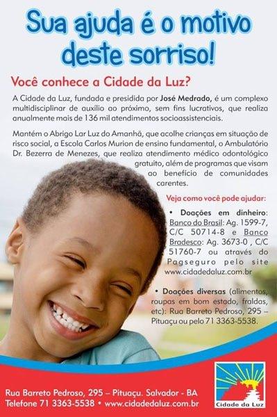 Contribua com as obras assistenciais da Cidade da Luz!