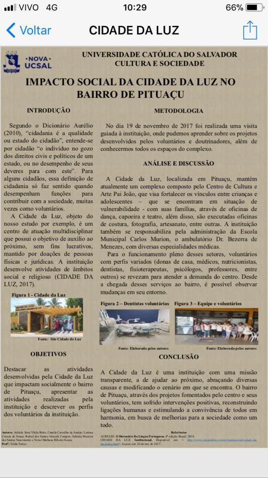 Impacto social da Cidade da Luz no Bairro de Pituaçu