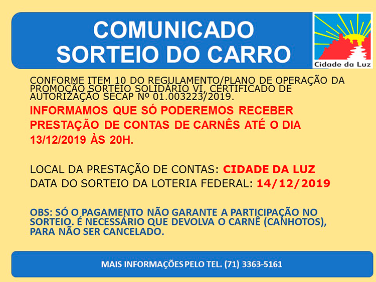 Comunicado Sorteio do Carro